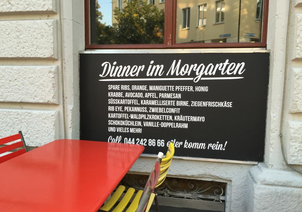 Morgarten Bar Terrasse Speisekarte Foto: carolina