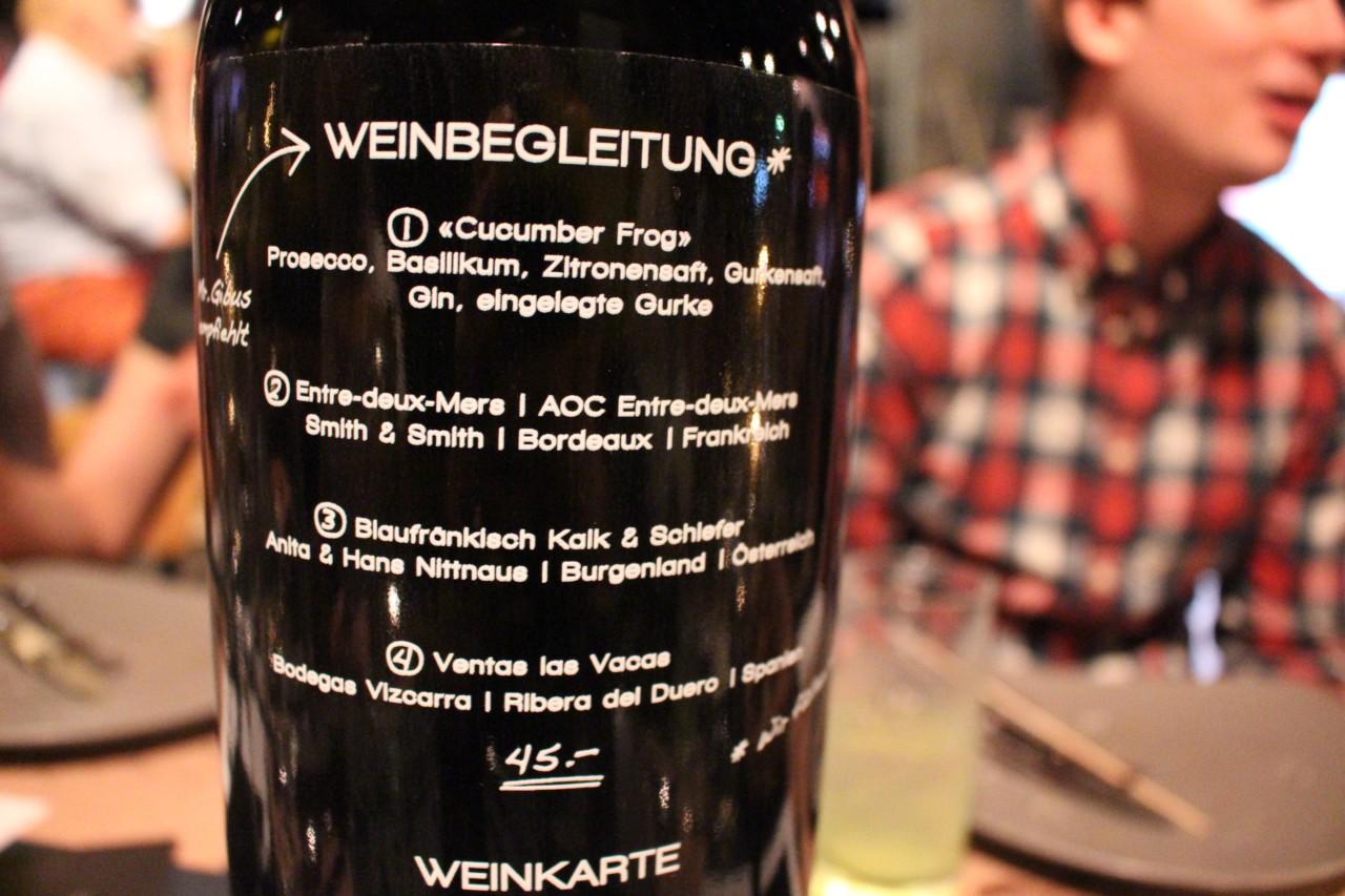 Die Weinkarte in der Fabrik