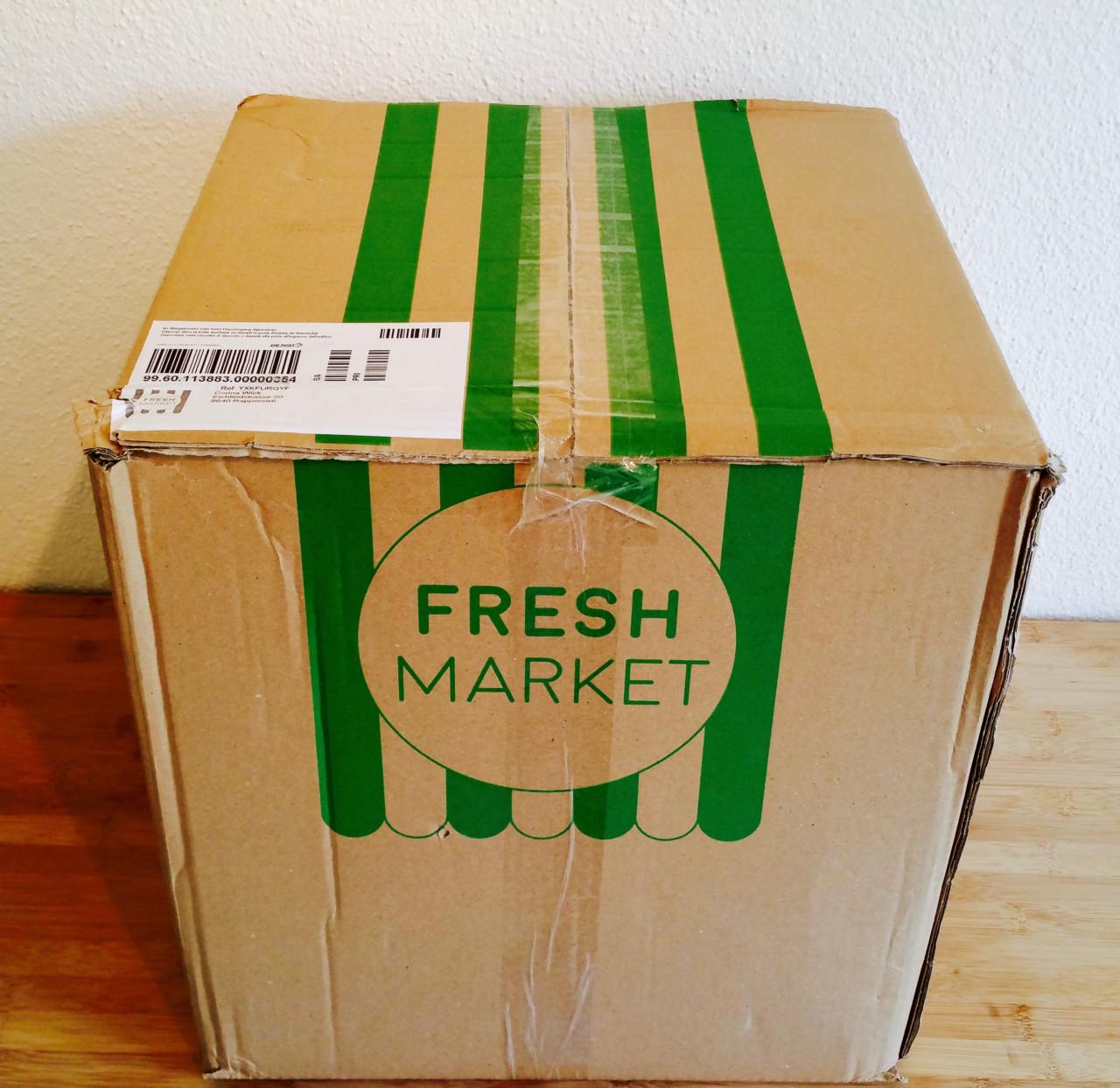 Die Lieferung von freshmarket mit den frischen Zutaten für meinen selbergemixten Smoothie
