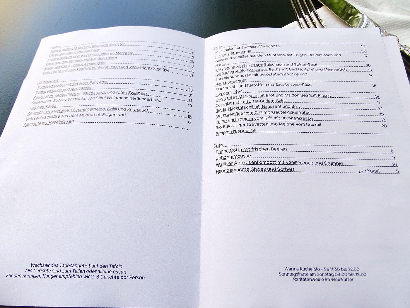 Restaurant Lotti: Speisekarte