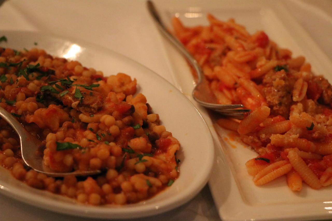 Pasta als erster Gang - bei unserem Besuch mit Fregola und Malloreddus.