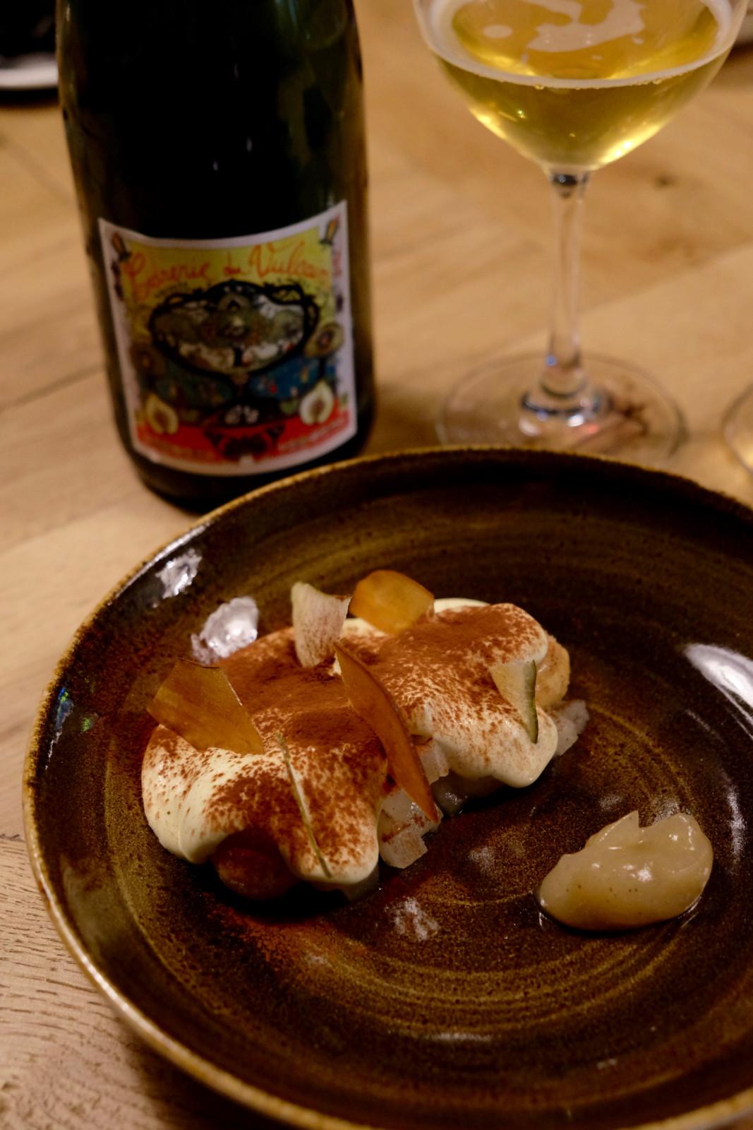 Das feine Birnentiramisu mit Quitten-Birnen-Apfel Cidre. Foto: Lunchgate/Anna