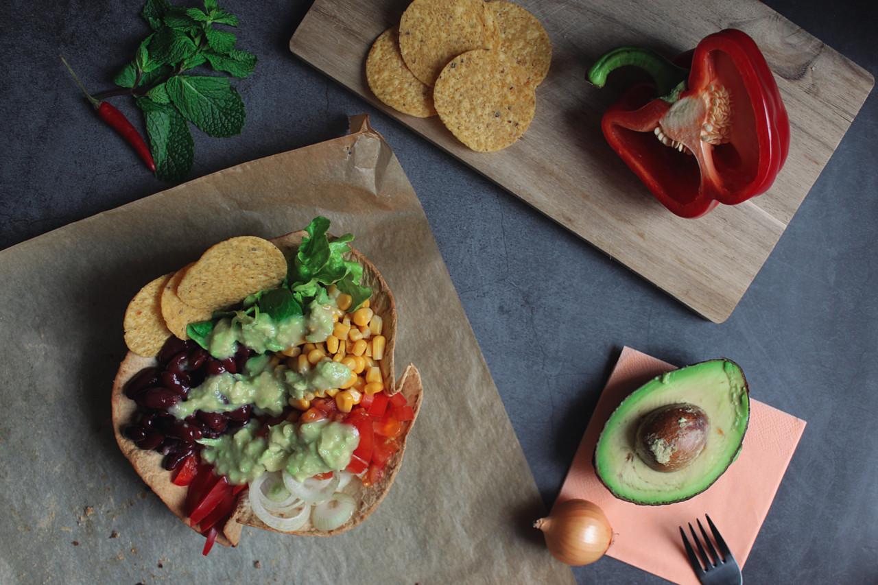 Tadaaaa! Die fertige Tortilla Bowl. Foto: Lunchgate/Selina